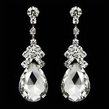 Non-Pierced Crystal Tear Drop Shaped Diamante Droplet Clip-On Earrings A219C