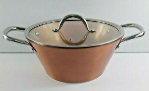 Chef Todd English Copper Sauce Pot Tapered Ceramic With Lid NEW 3.5 qt Non Stick