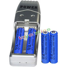 4x AAA battery batteries Bulk Rechargeable NI-MH 1800mAh 1.2V Blu + USB Charger