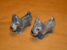 PR Vintage Scottie Scottish Terrier Dogs Salt Pepper Shakers Green Grey