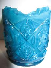 Blue milk glass toothpick holder star diamond pattern match slag opaque shot art