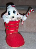 Red Christmas Boot Ornament w Poodle Dog Top Topper Home Decor Wind Up Vintage