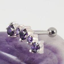 Helix Upper Ear Cartilage Bar Piercng Silver Motif Amethyst Crystal 1.2 x 6mm