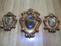 Vintage Victorian Scenes Porcelain/Ceramic Set Of Three Wall Decor