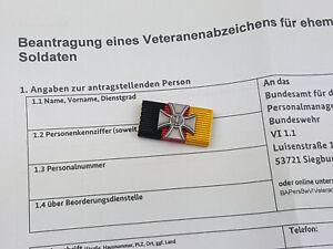 Bundeswehr Veteranenabzeichen Bandspange Bandschnalle Ordensspange mit Antrag