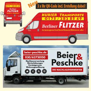 Fahrzeugbeschriftung LKW bis 7,5 t (3 Seiten, 2 Farben), incl. 3 x Ihr QR-Code