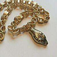 Vtg SNAKE Book Chain Collar Necklace Whiting & Davis SERPENT Antique gold Deco