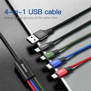 Baseus 4 in 1 Type C Micro USB 3.5A Fast Charging Data Cable For iPhone Samsung