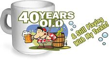 Funny 40 Years Old Fishing Tackle Motif for 40th Birthday CERAMIC Coffee Tea MUG