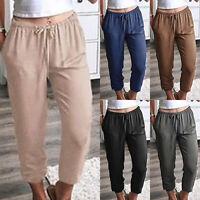 Womens Elastic Waist Cropped Trousers Loose Joggers Drawstring Harem Pants Plus