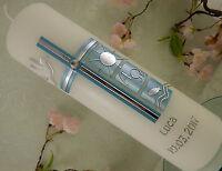Taufkerze Kommunionkerze Kreuz blau Perlmutt schlicht Taufkerze Junge 250/70 mm