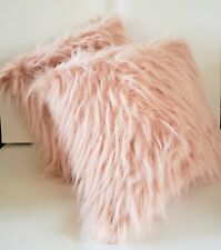 Room Essentials Faux Fur Glamour Throw Pillow light Pink 16x16 inches Set of 2
