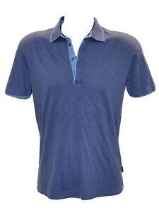 Hugo Boss Men's Pima Cotton 4 Button Polo Shirt Regular Fit Blue Size Medium
