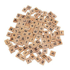 100pc Kid Wooden Scrabble Tiles Letter Alphabet Number Craft English New.