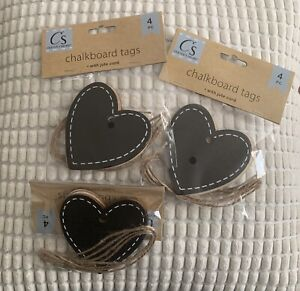 """(12) Chalkboard Tags Large 3"""" Heart Shape With Ties Thank You Name Tags"""