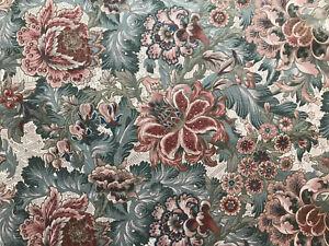 Crowson 'Jessicca'  Pink/Raspberry/Teal/Jade Floral Linen -1/6th Metre 46cmx51cm