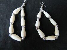 "Vintage White Drop Earrings. 2 1/4"" Goddess Jade Jewelry"