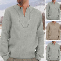 Men's Retro Casual Shirts Long Sleeve Tops Tee V-Neck Ethnic Loose Fit Blouse