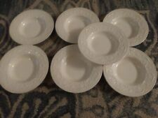 "7 Vintage Wedgwood Patrician Plain Cereal bowls Off White Embossed Flower 8 1/4"""