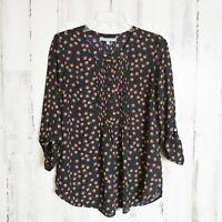 Daniel Rainn Size XS Floral Tunic Top Boho Blouse Shirt Roll Tab Sleeves