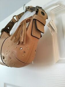 NWT Vintage Coach Camel Leather Rhinestone Studded Shoulder Handbag, Gorgeous!