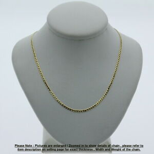 Genuine Brand new 9K Fine Italian Yellow Gold Curb Chain Necklace Length 45-80cm