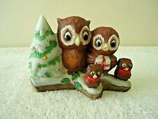"""Vintage UCGC Owl Family Standing By A Christmas Tree On A Log """" BEAUTIFUL ITEM """""""