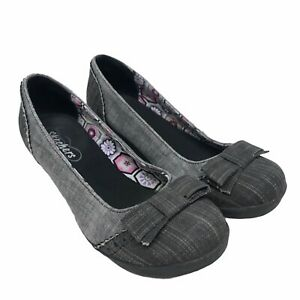 Women's Gray Skechers Relaxed Shoes Wedge Slip Bow On Size 6.5 M