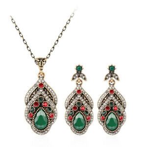 Ethnic Crystal Pendant Necklace Earrings Boho Jewelry Set Gypsy Statement Gifts