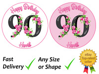 90th Birthday Personalised cake topper edible icing or Wafer Circle square etc