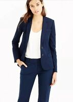 Women's J.CREW Thompson Blazer Bi Stretch Navy Blue Lined Schoolboy Sz 4 #A0361