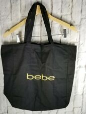 NEW BeBe Black Cloth Tote Handbag Overnight Gym Bag Classic Gold Letters Canvas