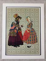 1932 Olandese Stampa Vecchio Lady Giovane Bambina Holland Costume Olanda Raro