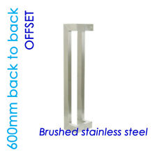 OFFSET ENTRANCE DOOR HANDLE 600mm PULL SET STAINLESS STEEL LONG SQUARE