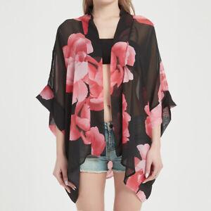 PLUS Ladies Sheer Chiffon Cardigan Blouse Beach Kimono Open Cover Up Top Shawl