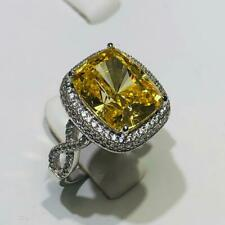 Platinum Sterling Silver Yellow & White Sapphire Pave Cushion Cut Halo Ring Sz5