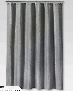 """Waffle Weave Shower Curtain Threshold Gray Grommet Top 72"""" x 72"""""""
