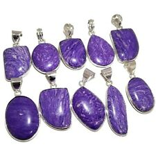 Best Deal !! Lot 20 PCs. CHAROITE Gemstone .925 Sterling Silver Plated Pendants