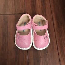 Infant Baby Toddler Girls High Quality Sheep Leather Pink Flower Shoe Size 6 7 8