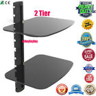 2 Shelf Floating Wall Mount DVD TV Component AV Console Cable Glass Stand OY