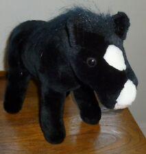 K&M INTERNATIONAL * Black HORSE Stuffed Plush POSE-ABLE PONY White Face 10 X 15