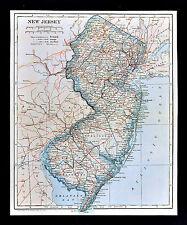 1921 Poates Map - New Jersey - York NY City Tenton Camden Princeton Atlantic NJ