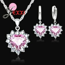 925 Sterling Silver Pink Cubic Zirconia Heart Crystal Necklace And Earring Set