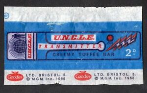 MAN FROM UNCLE transmitter  toffee bar wrapper 1966 GOODIES