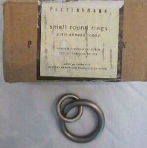 Set of 10  Pottery Barn Standard Double Round Rings Small Pewter 5197959 Curtain