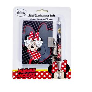 Minnie Mouse Mini-Tagebuch mit Stift, Schloss + 2 Schlüsseln Kindertagebuch