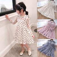 Toddler Kids Baby Girls Long Sleeve Gauze Ruffled Polka Dot Bow Princess Dresses