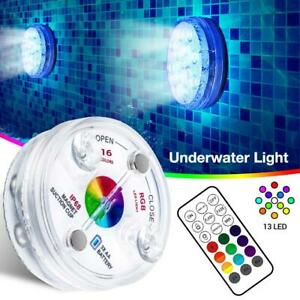 1PC Swimming Pool Light RGB LED Bulb Underwater Color Vase Decor Lights & Remote