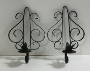 """Set of Black Metal Wall Sconces/Candleholders (Size: 9""""x6""""x3.25"""")"""