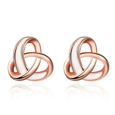 Buycitky 14K Rose Gold Twisted Love Knot Stud Earrings for Women Fashion Earring